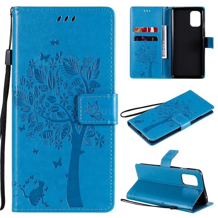 Embossing Butterfly Tree Leather Wallet Case for OnePlus 8T - Blue
