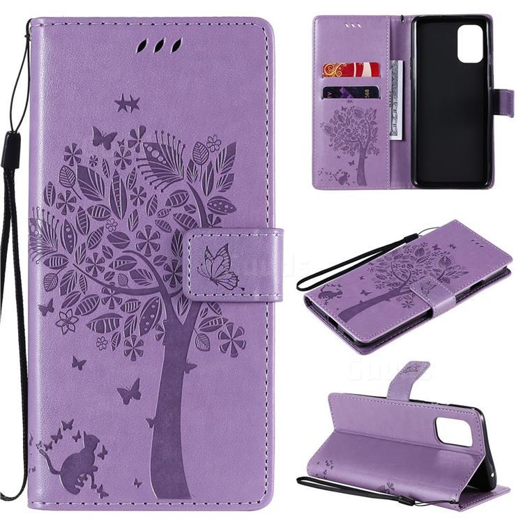 Embossing Butterfly Tree Leather Wallet Case for OnePlus 8T - Violet
