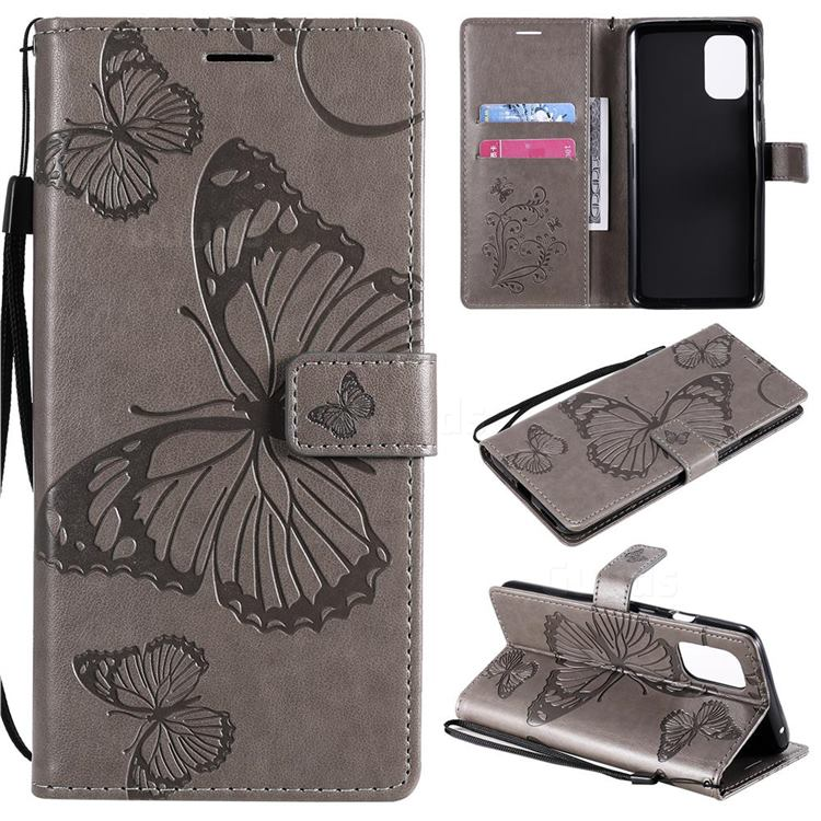 Embossing 3D Butterfly Leather Wallet Case for OnePlus 8T - Gray