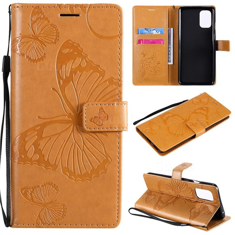 Embossing 3D Butterfly Leather Wallet Case for OnePlus 8T - Yellow