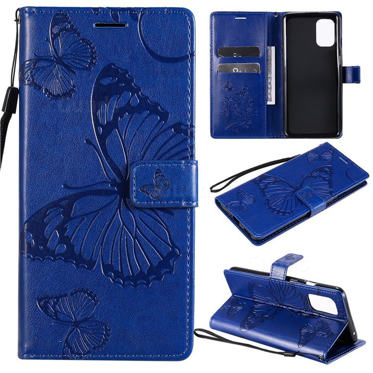 Embossing 3D Butterfly Leather Wallet Case for OnePlus 8T - Blue