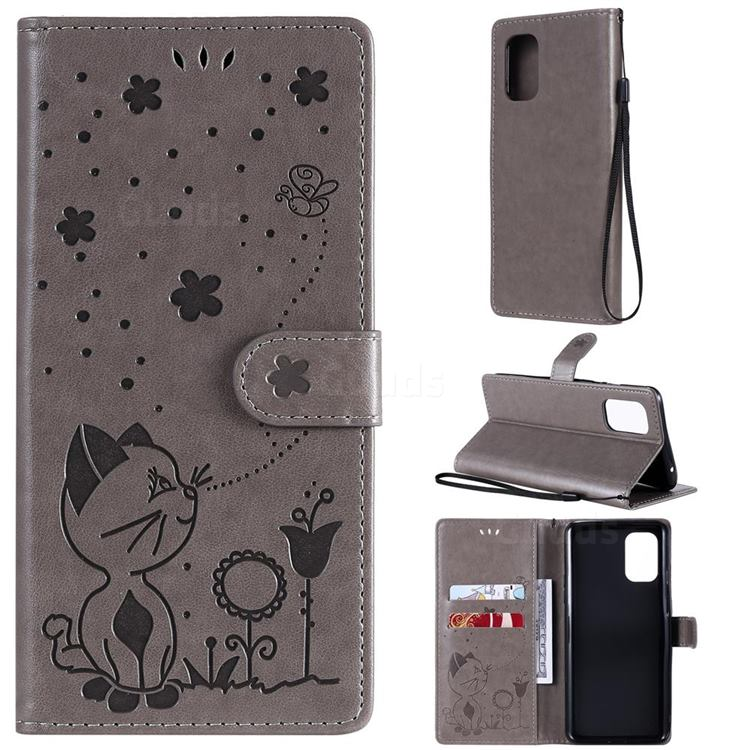 Embossing Bee and Cat Leather Wallet Case for OnePlus 8T - Gray