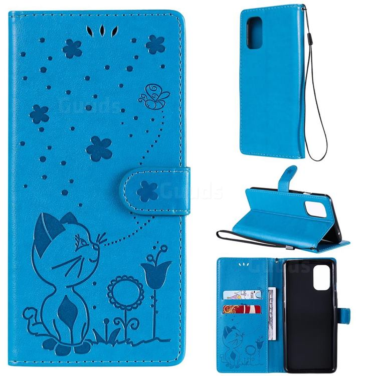 Embossing Bee and Cat Leather Wallet Case for OnePlus 8T - Blue