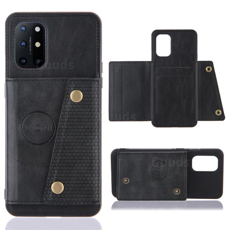 Retro Multifunction Card Slots Stand Leather Coated Phone Back Cover for OnePlus 8T - Black