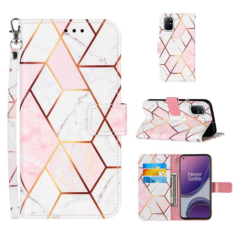 Pink White Stitching Color Marble Leather Wallet Case for OnePlus 8T