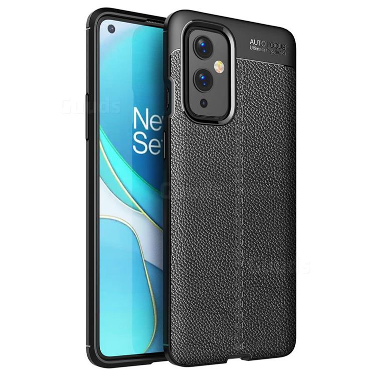 Luxury Auto Focus Litchi Texture Silicone TPU Back Cover for OnePlus 9 - Black