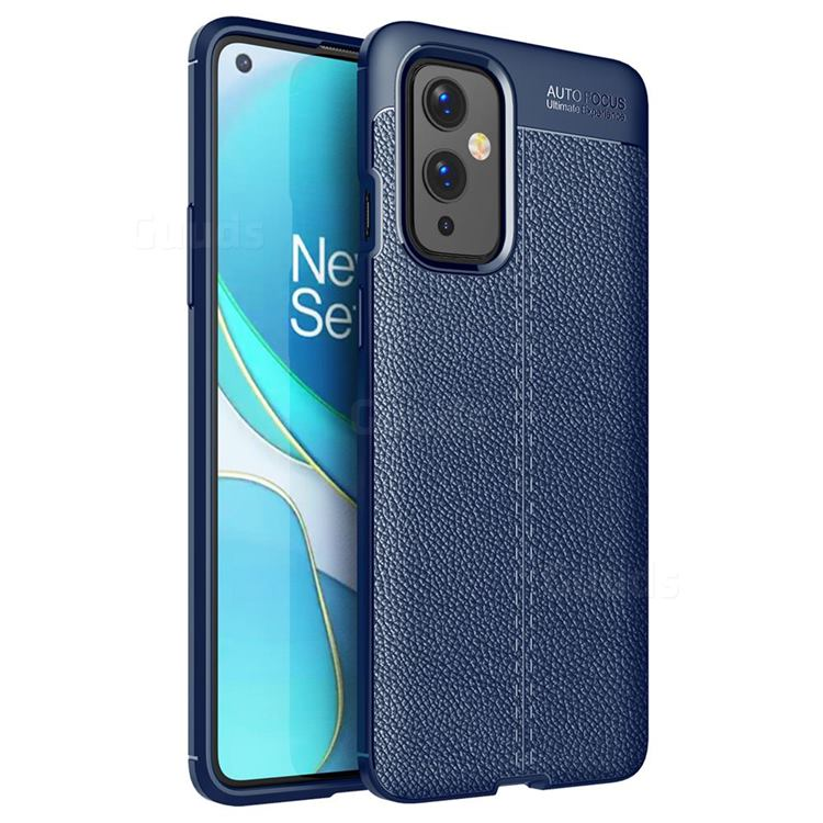 Luxury Auto Focus Litchi Texture Silicone TPU Back Cover for OnePlus 9 - Dark Blue