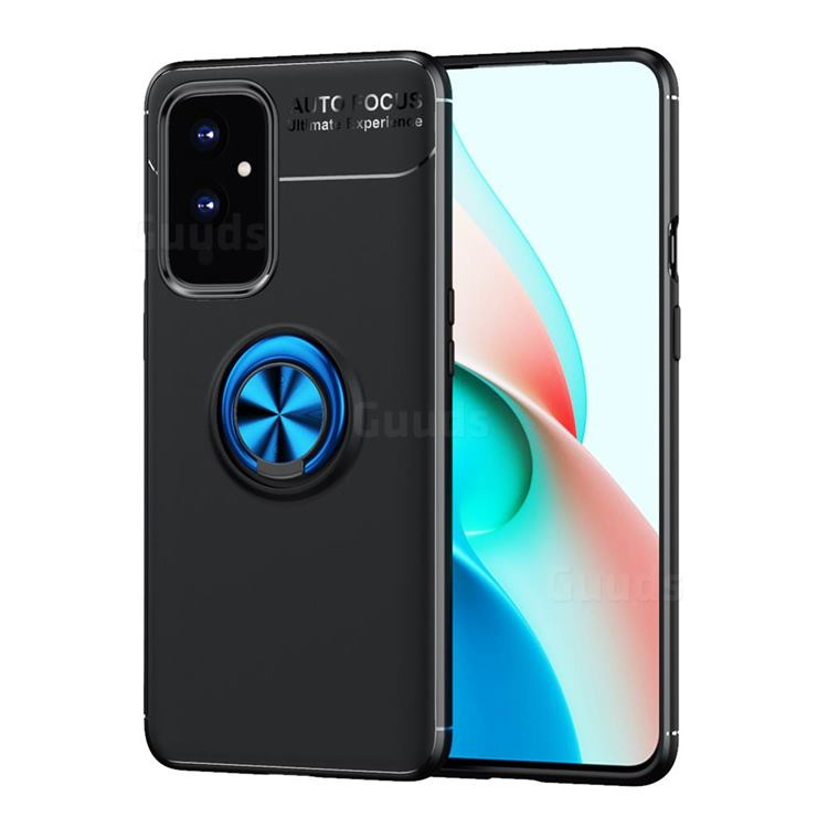 Auto Focus Invisible Ring Holder Soft Phone Case for OnePlus 9 - Black Blue
