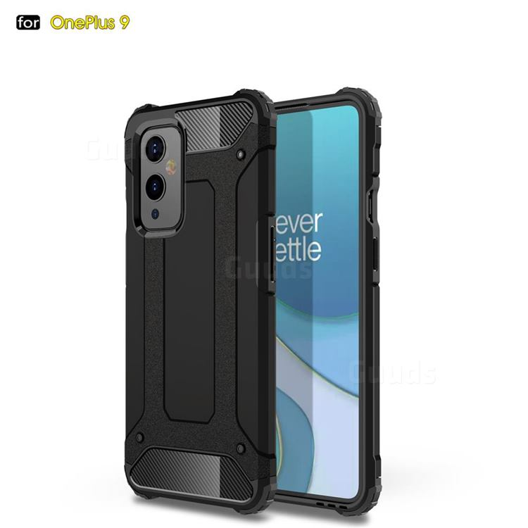 King Kong Armor Premium Shockproof Dual Layer Rugged Hard Cover for OnePlus 9 - Black Gold