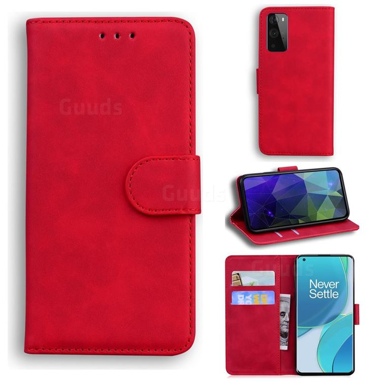 Retro Classic Skin Feel Leather Wallet Phone Case for OnePlus 9 - Red