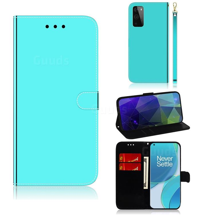 Shining Mirror Like Surface Leather Wallet Case for OnePlus 9 - Mint Green