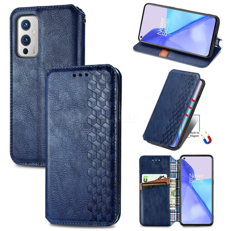Ultra Slim Fashion Business Card Magnetic Automatic Suction Leather Flip Cover for OnePlus 9 - Dark Blue