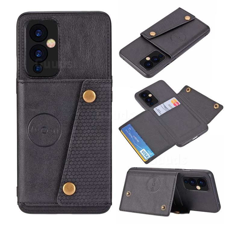 Retro Multifunction Card Slots Stand Leather Coated Phone Back Cover for OnePlus 9 - Black