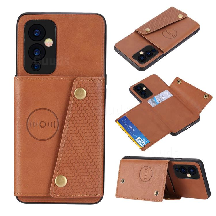 Retro Multifunction Card Slots Stand Leather Coated Phone Back Cover for OnePlus 9 - Brown