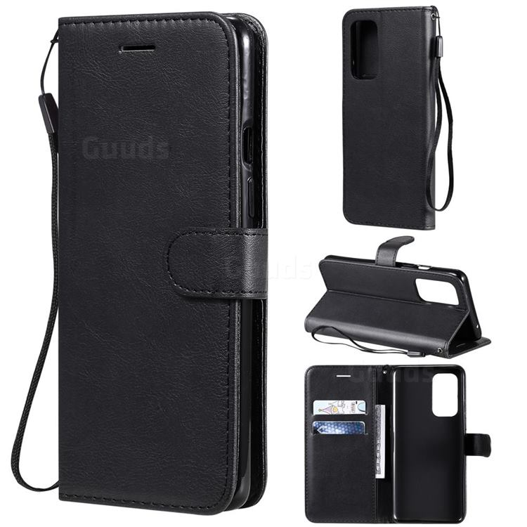 Retro Greek Classic Smooth PU Leather Wallet Phone Case for OnePlus 9 - Black