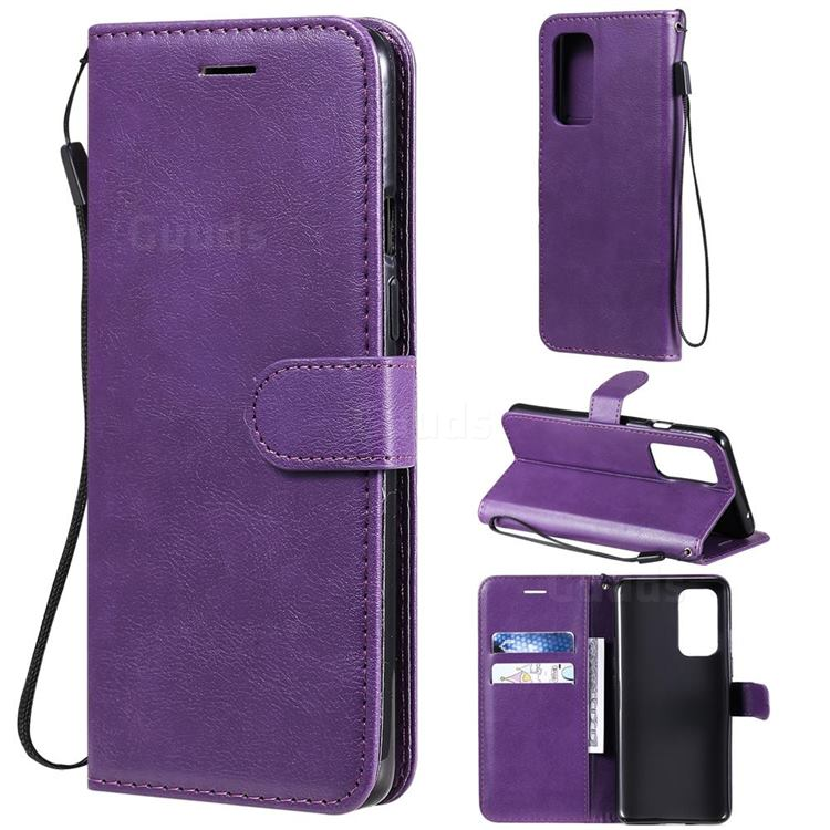 Retro Greek Classic Smooth PU Leather Wallet Phone Case for OnePlus 9 - Purple