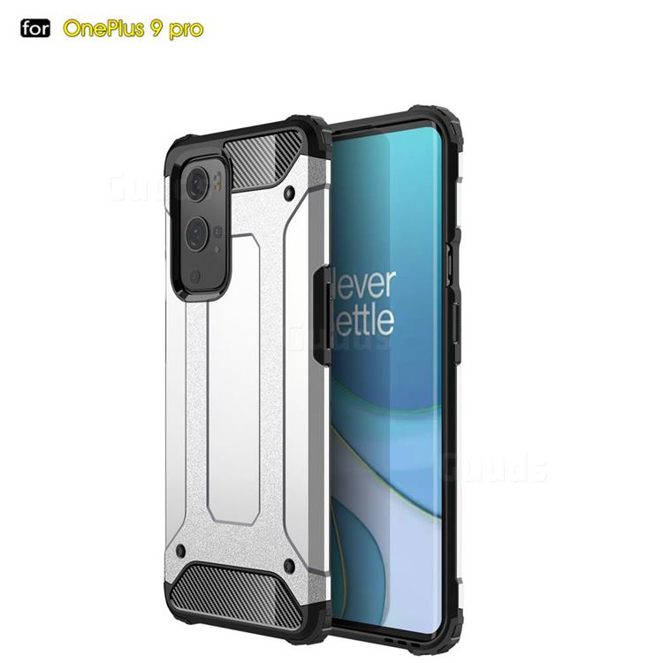 King Kong Armor Premium Shockproof Dual Layer Rugged Hard Cover for OnePlus 9 Pro - White