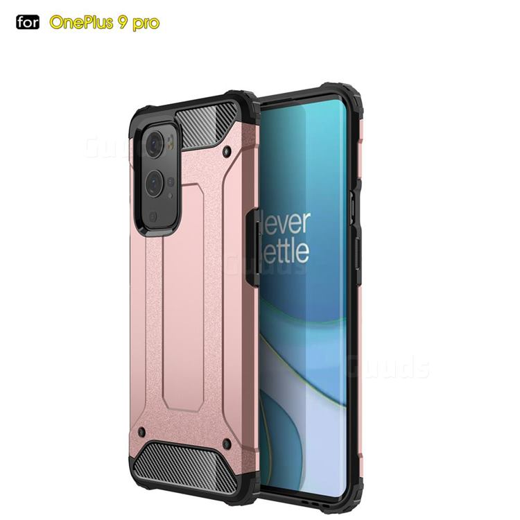 King Kong Armor Premium Shockproof Dual Layer Rugged Hard Cover for OnePlus 9 Pro - Rose Gold