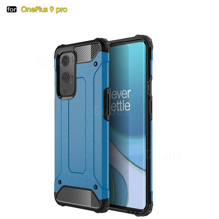 King Kong Armor Premium Shockproof Dual Layer Rugged Hard Cover for OnePlus 9 Pro - Sky Blue