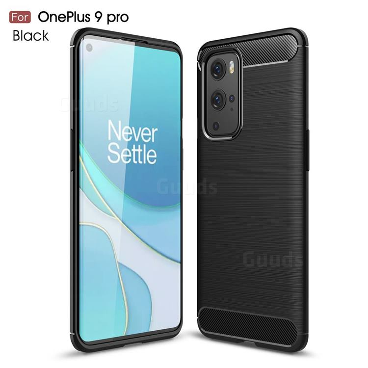 Luxury Carbon Fiber Brushed Wire Drawing Silicone TPU Back Cover for OnePlus 9 Pro - Black