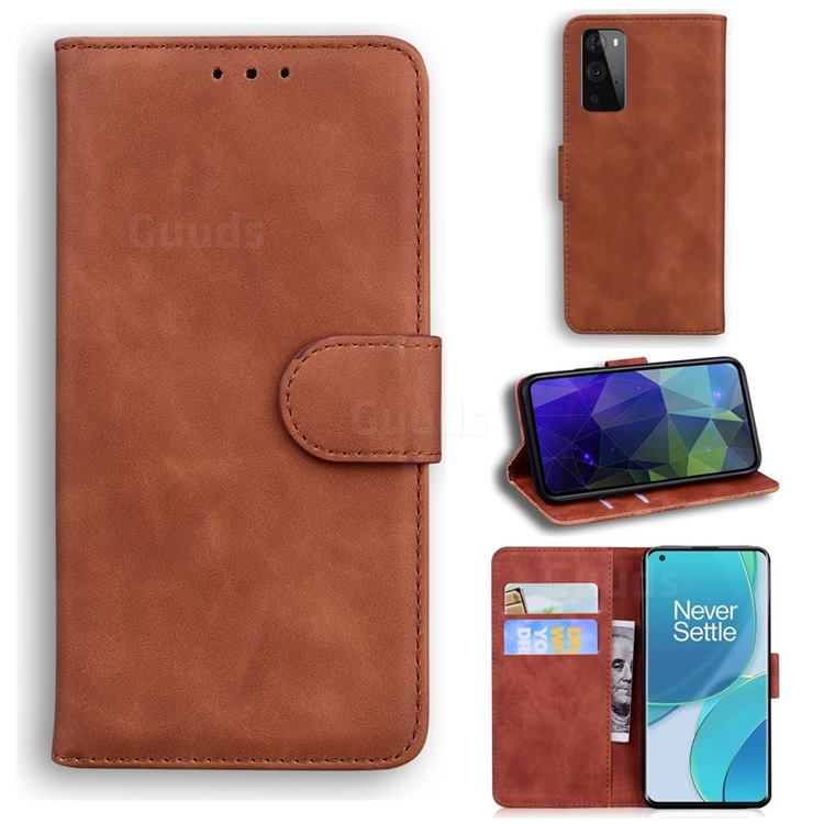 Retro Classic Skin Feel Leather Wallet Phone Case for OnePlus 9 Pro - Brown