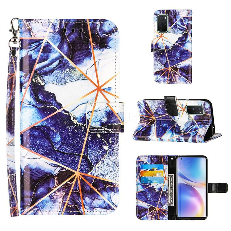 Starry Blue Stitching Color Marble Leather Wallet Case for OnePlus 9 Pro