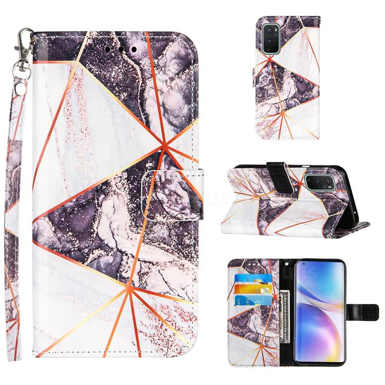 Black and White Stitching Color Marble Leather Wallet Case for OnePlus 9 Pro