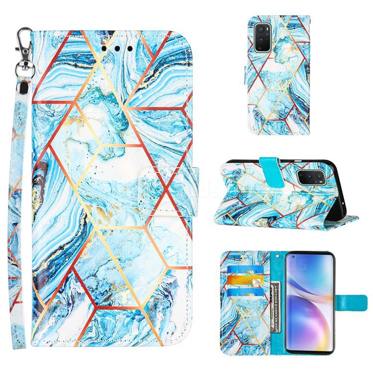 Lake Blue Stitching Color Marble Leather Wallet Case for OnePlus 9 Pro