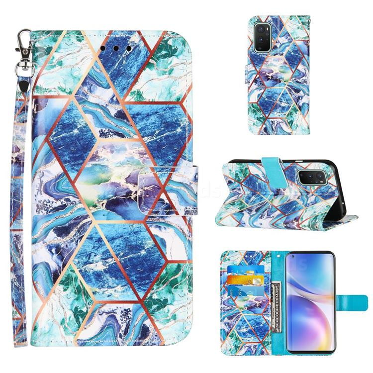 Green and Blue Stitching Color Marble Leather Wallet Case for OnePlus 9 Pro