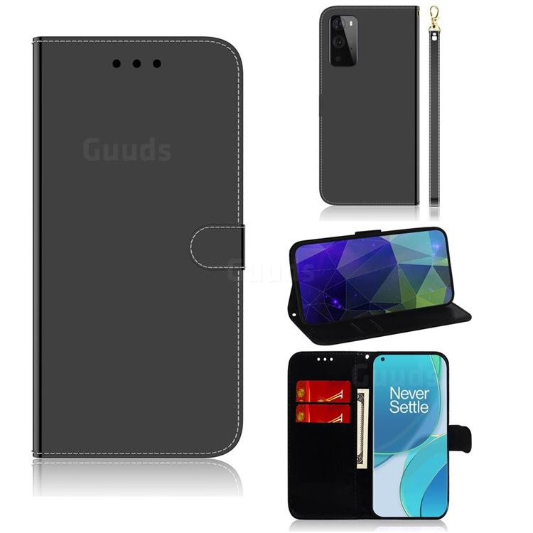 Shining Mirror Like Surface Leather Wallet Case for OnePlus 9 Pro - Black