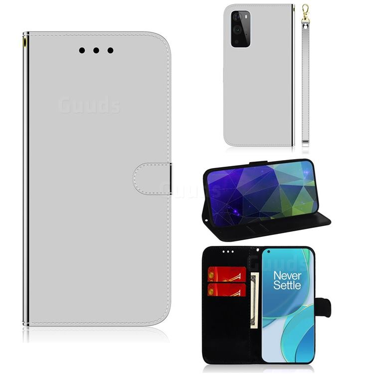 Shining Mirror Like Surface Leather Wallet Case for OnePlus 9 Pro - Silver
