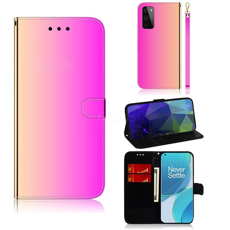 Shining Mirror Like Surface Leather Wallet Case for OnePlus 9 Pro - Rainbow Gradient