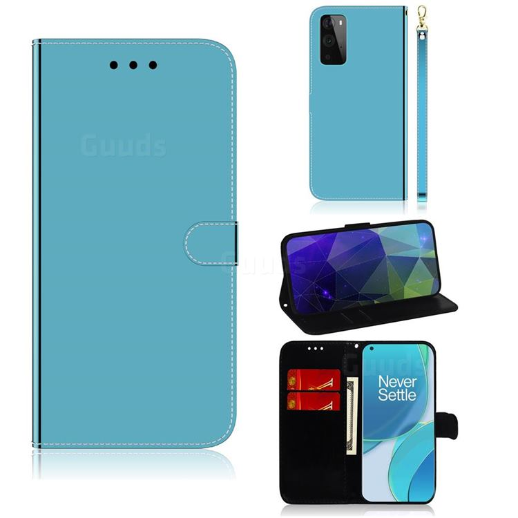 Shining Mirror Like Surface Leather Wallet Case for OnePlus 9 Pro - Blue