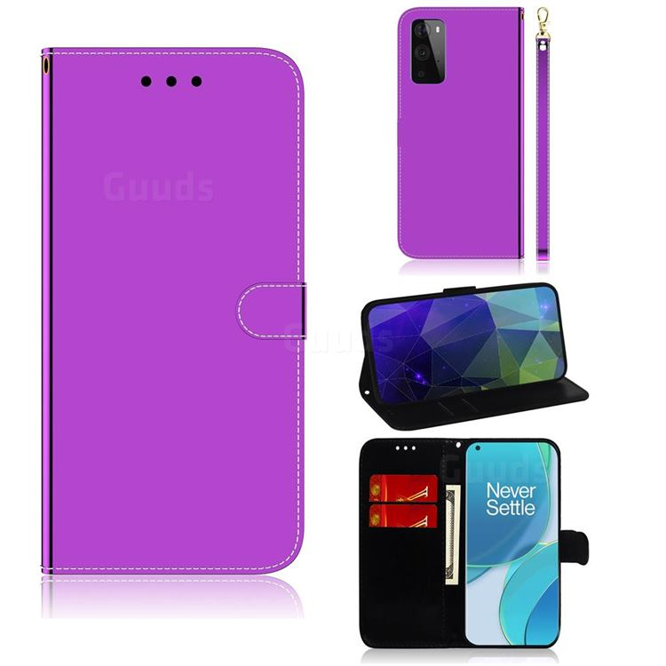 Shining Mirror Like Surface Leather Wallet Case for OnePlus 9 Pro - Purple