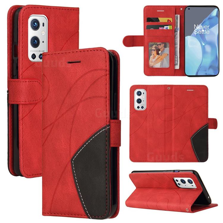 Luxury Two-color Stitching Leather Wallet Case Cover for OnePlus 9 Pro - Red