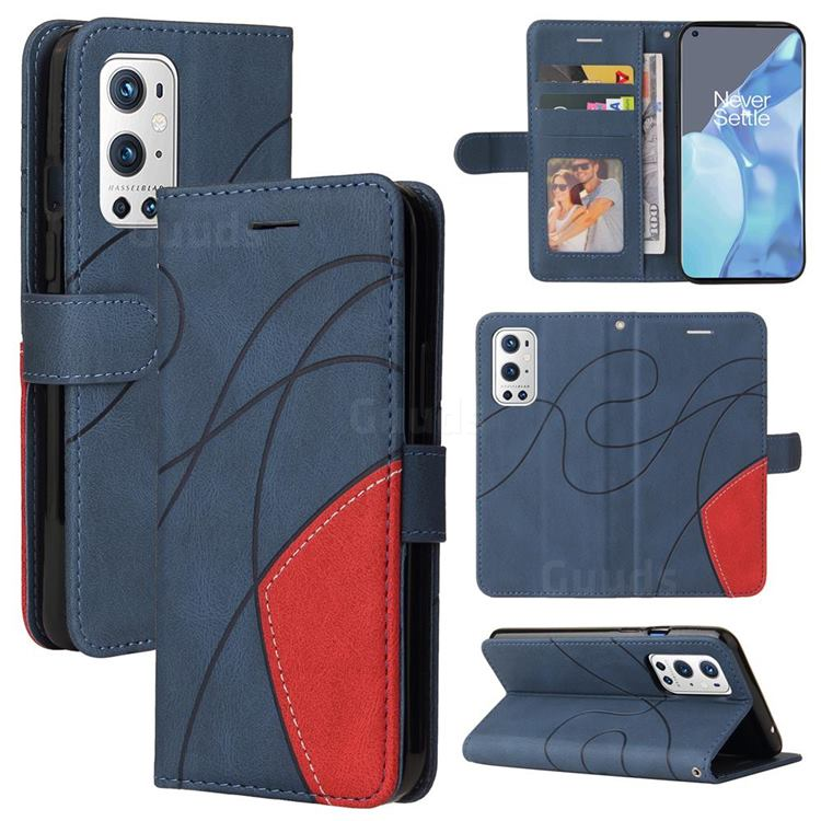 Luxury Two-color Stitching Leather Wallet Case Cover for OnePlus 9 Pro - Blue