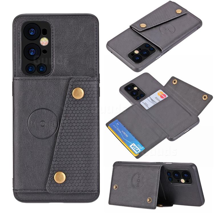 Retro Multifunction Card Slots Stand Leather Coated Phone Back Cover for OnePlus 9 Pro - Black