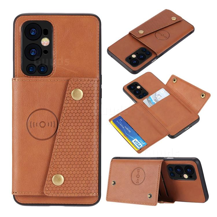 Retro Multifunction Card Slots Stand Leather Coated Phone Back Cover for OnePlus 9 Pro - Brown