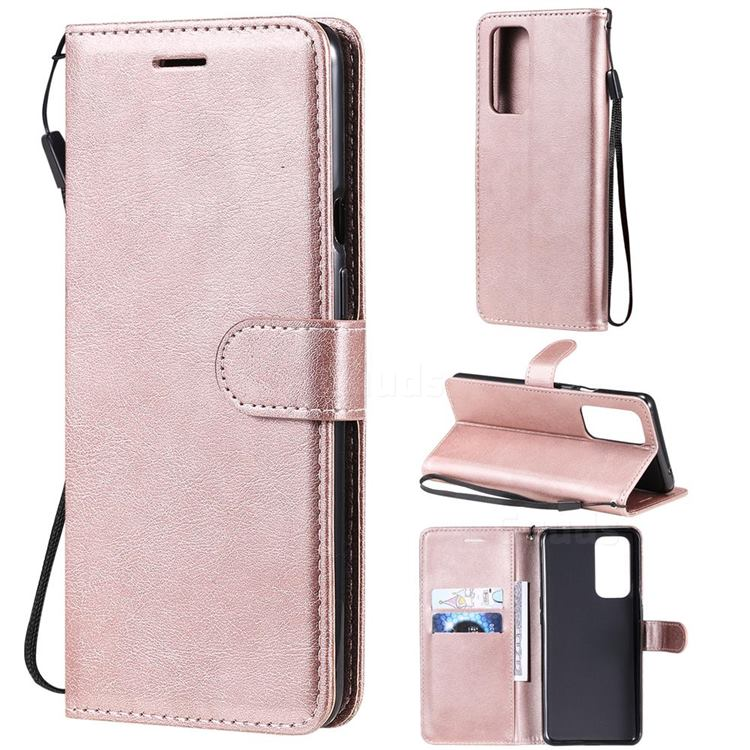 Retro Greek Classic Smooth PU Leather Wallet Phone Case for OnePlus 9 Pro - Rose Gold