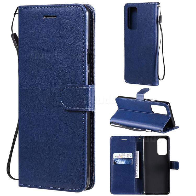Retro Greek Classic Smooth PU Leather Wallet Phone Case for OnePlus 9 Pro - Blue