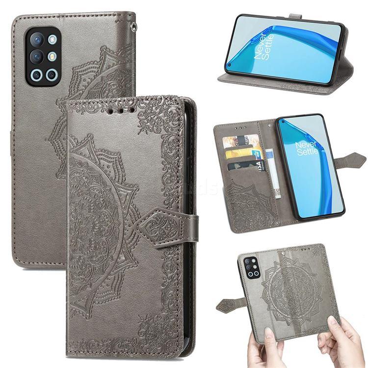 Embossing Imprint Mandala Flower Leather Wallet Case for OnePlus 9R - Gray