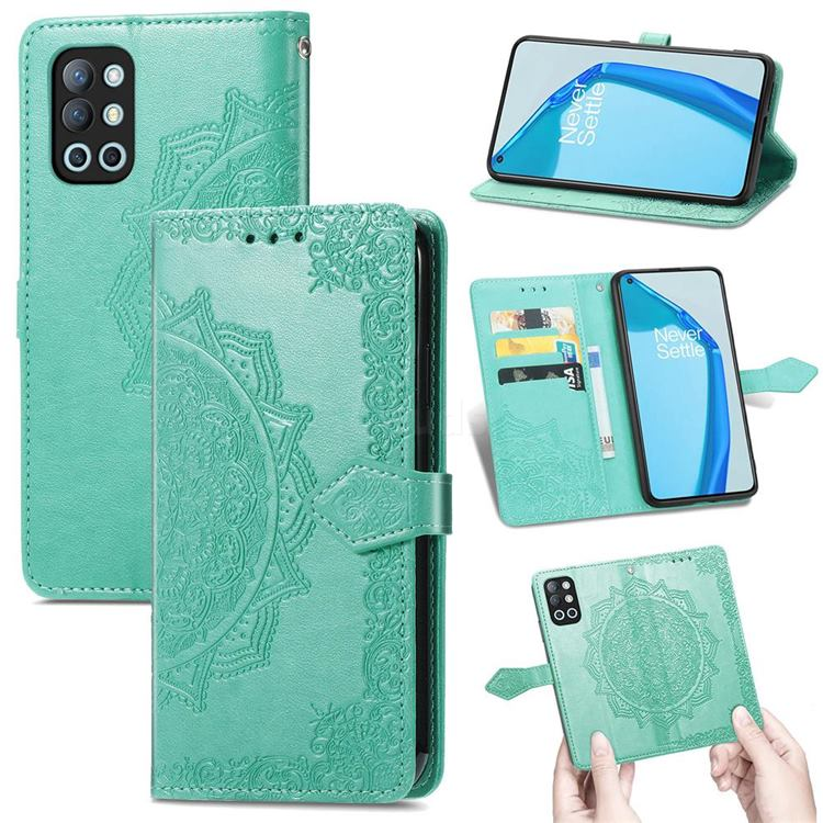Embossing Imprint Mandala Flower Leather Wallet Case for OnePlus 9R - Green