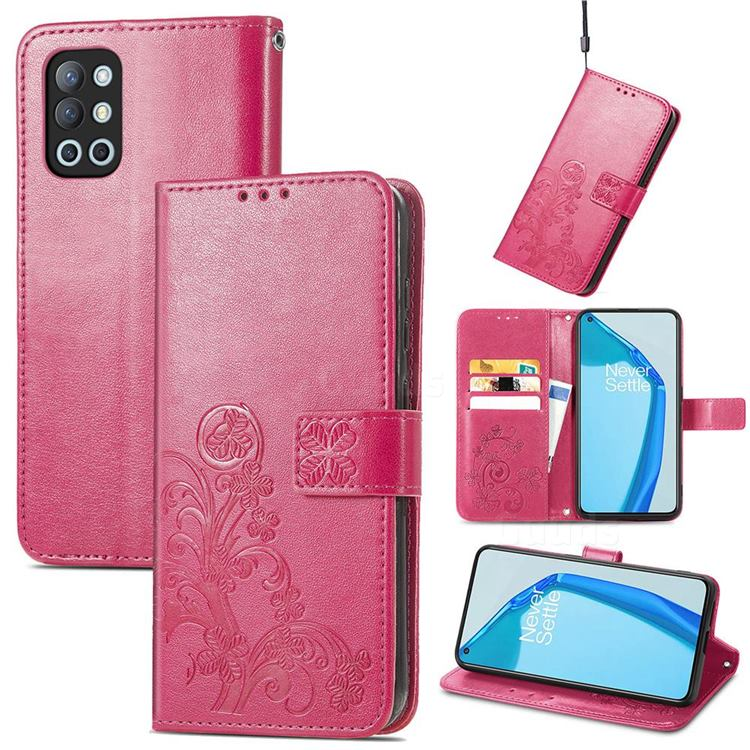 Embossing Imprint Four-Leaf Clover Leather Wallet Case for OnePlus 9R - Rose Red