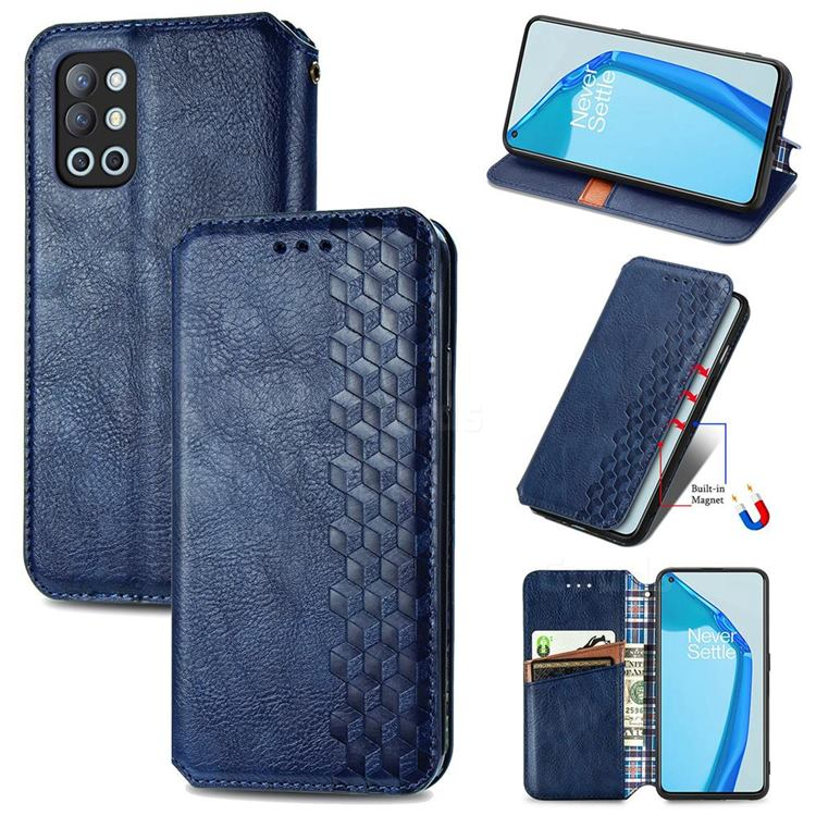 Ultra Slim Fashion Business Card Magnetic Automatic Suction Leather Flip Cover for OnePlus 9R - Dark Blue