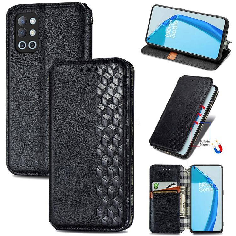 Ultra Slim Fashion Business Card Magnetic Automatic Suction Leather Flip Cover for OnePlus 9R - Black