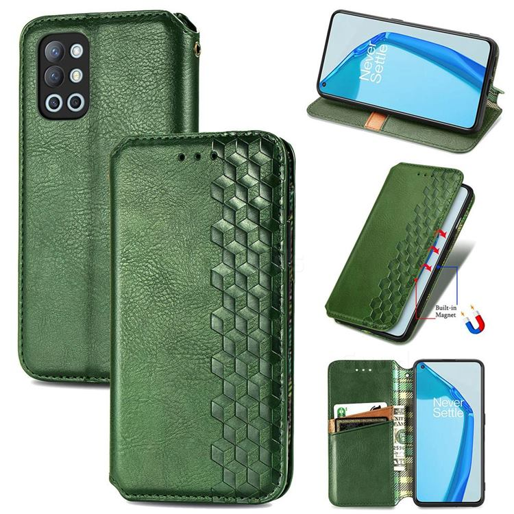 Ultra Slim Fashion Business Card Magnetic Automatic Suction Leather Flip Cover for OnePlus 9R - Green