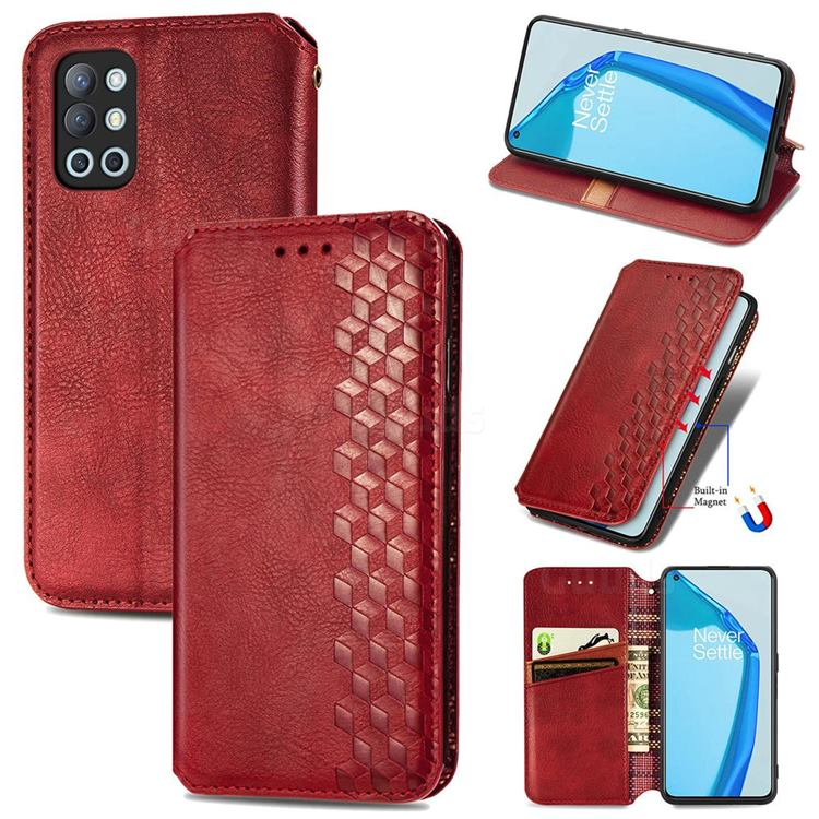 Ultra Slim Fashion Business Card Magnetic Automatic Suction Leather Flip Cover for OnePlus 9R - Red