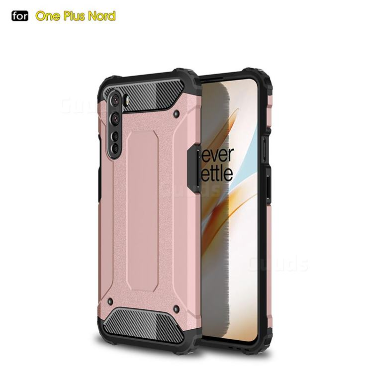 King Kong Armor Premium Shockproof Dual Layer Rugged Hard Cover for OnePlus Nord (OnePlus 8 NORD 5G, OnePlus Z) - Rose Gold