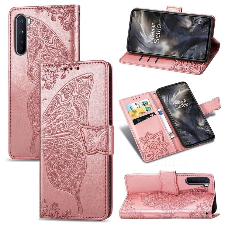 Embossing Mandala Flower Butterfly Leather Wallet Case for OnePlus Nord (OnePlus 8 NORD 5G, OnePlus Z) - Rose Gold