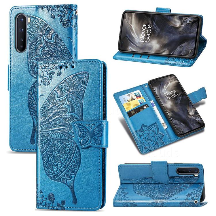 Embossing Mandala Flower Butterfly Leather Wallet Case for OnePlus Nord (OnePlus 8 NORD 5G, OnePlus Z) - Blue